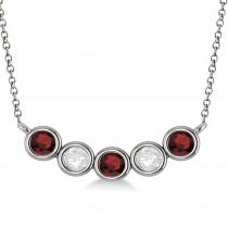 Diamond & Garnet 5-Stone Pendant Necklace 14k White Gold 1.00ct