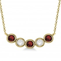 Diamond & Garnet 5-Stone Pendant Necklace 14k Yellow Gold 1.00ct