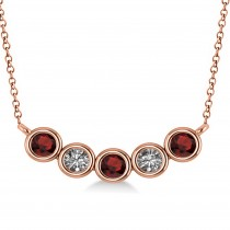 Diamond & Garnet 5-Stone Pendant Necklace 14k Rose Gold 0.25ct