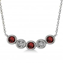 Diamond & Garnet 5-Stone Pendant Necklace 14k White Gold 0.25ct