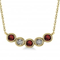 Diamond & Garnet 5-Stone Pendant Necklace 14k Yellow Gold 0.25ct