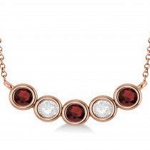 Diamond & Garnet 5-Stone Pendant Necklace 14k Rose Gold 2.00ct