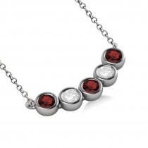 Diamond & Garnet 5-Stone Pendant Necklace 14k White Gold 2.00ct