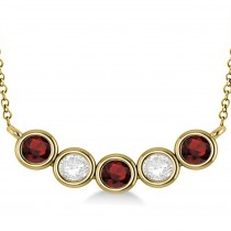 Diamond & Garnet 5-Stone Pendant Necklace 14k Yellow Gold 2.00ct