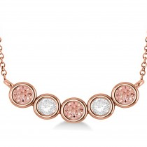 Diamond & Morganite 5-Stone Pendant Necklace 14k Rose Gold 2.00ct