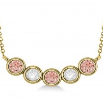 Diamond & Morganite 5-Stone Pendant Necklace 14k Yellow Gold 2.00ct