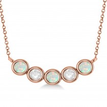 Diamond & Opal 5-Stone Pendant Necklace 14k Rose Gold 1.00ct