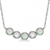 Diamond & Opal 5-Stone Pendant Necklace 14k White Gold 1.00ct