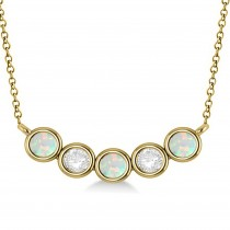 Diamond & Opal 5-Stone Pendant Necklace 14k Yellow Gold 1.00ct