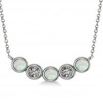 Diamond & Opal 5-Stone Pendant Necklace 14k White Gold 0.25ct