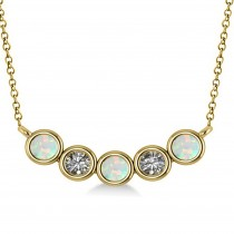 Diamond & Opal 5-Stone Pendant Necklace 14k Yellow Gold 0.25ct