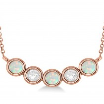 Diamond & Opal 5-Stone Pendant Necklace 14k Rose Gold 2.00ct