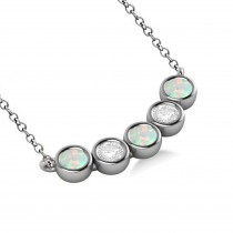 Diamond & Opal 5-Stone Pendant Necklace 14k White Gold 2.00ct