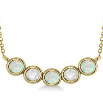 Diamond & Opal 5-Stone Pendant Necklace 14k Yellow Gold 2.00ct