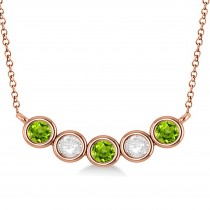 Diamond & Peridot 5-Stone Pendant Necklace 14k Rose Gold 1.00ct