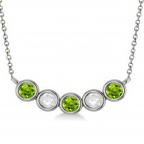 Diamond & Peridot 5-Stone Pendant Necklace 14k White Gold 1.00ct