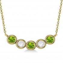 Diamond & Peridot 5-Stone Pendant Necklace 14k Yellow Gold 1.00ct