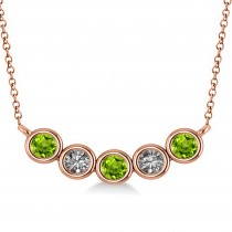 Diamond & Peridot 5-Stone Pendant Necklace 14k Rose Gold 0.25ct
