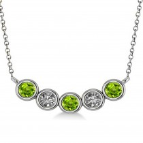 Diamond & Peridot 5-Stone Pendant Necklace 14k White Gold 0.25ct