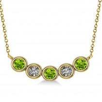Diamond & Peridot 5-Stone Pendant Necklace 14k Yellow Gold 0.25ct