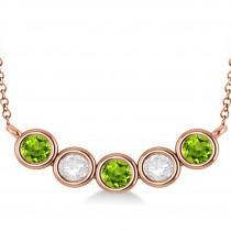 Diamond & Peridot 5-Stone Pendant Necklace 14k Rose Gold 2.00ct
