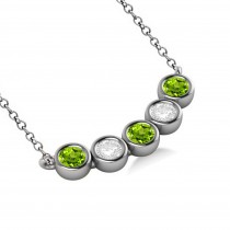 Diamond & Peridot 5-Stone Pendant Necklace 14k White Gold 2.00ct