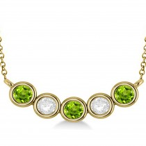 Diamond & Peridot 5-Stone Pendant Necklace 14k Yellow Gold 2.00ct