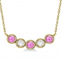 Diamond & Pink Sapphire 5-Stone Pendant Necklace 14k Yellow Gold 1.00ct