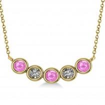 Diamond & Pink Sapphire 5-Stone Pendant Necklace 14k Yellow Gold 0.25ct