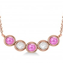 Diamond & Pink Sapphire 5-Stone Pendant Necklace 14k Rose Gold 2.00ct
