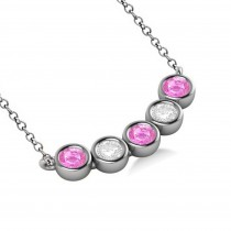 Diamond & Pink Sapphire 5-Stone Pendant Necklace 14k White Gold 2.00ct