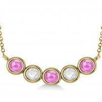 Diamond & Pink Sapphire 5-Stone Pendant Necklace 14k Yellow Gold 2.00ct