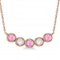 Diamond & Pink Tourmaline 5-Stone Pendant Necklace 14k Rose Gold 1.00ct
