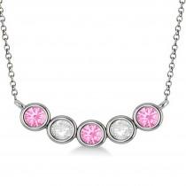 Diamond & Pink Tourmaline 5-Stone Pendant Necklace 14k White Gold 1.00ct