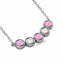 Diamond & Pink Tourmaline 5-Stone Pendant Necklace 14k White Gold 1.00ct|escape