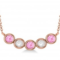 Diamond & Pink Tourmaline 5-Stone Pendant Necklace 14k Rose Gold 2.00ct