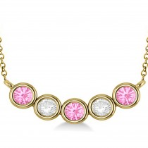 Diamond & Pink Tourmaline 5-Stone Pendant Necklace 14k Yellow Gold 2.00ct