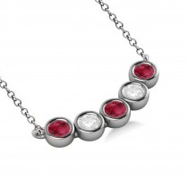 Diamond & Ruby 5-Stone Pendant Necklace 14k White Gold 1.00ct