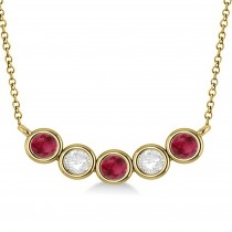 Diamond & Ruby 5-Stone Pendant Necklace 14k Yellow Gold 1.00ct