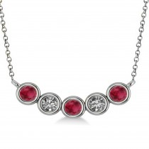Diamond & Ruby 5-Stone Pendant Necklace 14k White Gold 0.25ct