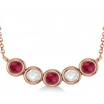 Diamond & Ruby 5-Stone Pendant Necklace 14k Rose Gold 2.00ct