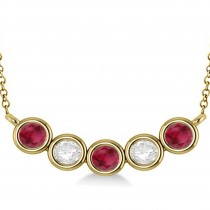 Diamond & Ruby 5-Stone Pendant Necklace 14k Yellow Gold 2.00ct