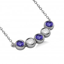 Diamond & Tanzanite 5-Stone Pendant Necklace 14k White Gold 1.00ct