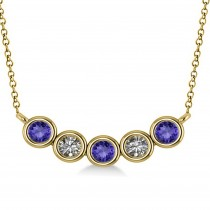 Diamond & Tanzanite 5-Stone Pendant Necklace 14k Yellow Gold 0.25ct