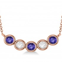 Diamond & Tanzanite 5-Stone Pendant Necklace 14k Rose Gold 2.00ct