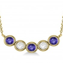 Diamond & Tanzanite 5-Stone Pendant Necklace 14k Yellow Gold 2.00ct