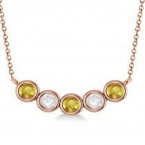Diamond & Yellow Sapphire 5-Stone Pendant Necklace 14k Rose Gold 1.00ct