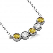Diamond & Yellow Sapphire 5-Stone Pendant Necklace 14k White Gold 0.25ct