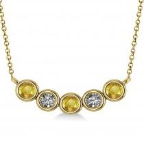 Diamond & Yellow Sapphire 5-Stone Pendant Necklace 14k Yellow Gold 0.25ct
