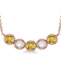 Diamond & Yellow Sapphire 5-Stone Pendant Necklace 14k Rose Gold 2.00ct